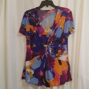 Daisy Fuentes Twist Front Short Sleeve Blouse XL